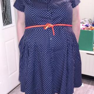 Sandy Shirtwaist Dress Navy Dot no petticoat