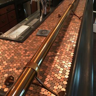 Sunset Copper Rail contrasts with Penny Top Bar