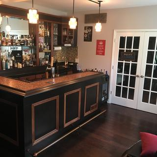 Front of bar. Copper Penny top bar with Sunset Copper Rail