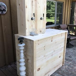 We built this two tap bar for our cabin wedding. It turned out amazing and worked great!!