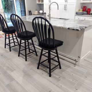 Love it!     The foot rail makes it much easy to get up on the counter height bar stools.