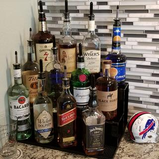 Love it! The tiered shelves are the perfect height to display the bottles. Enhances my home bar.