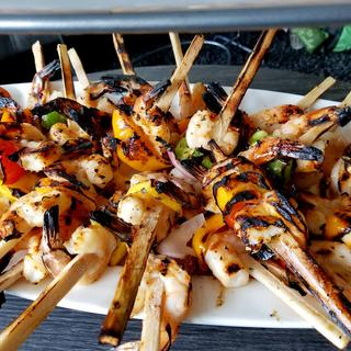 Sugar cane skewers heighten the quality of our already magnificent shrimp...a must have!