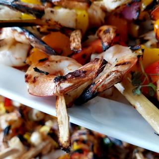 Close up of our Signature grilled shrimp made even tastier using these skewers!