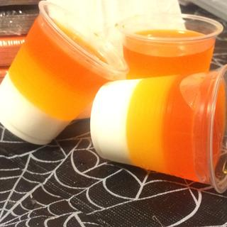 This was actually pina colada flavor, but I just wanted to show off my candy corn jello shots :p