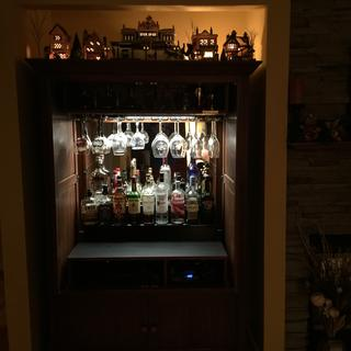 Looks great in our new bar (former tv entertainment center)