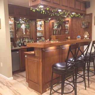 The Bar with rail and stools