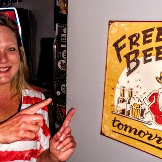 Great new and fun sign for Judy's Pub and Eatery in Virginia Beach, VA.  This is the happy owner!