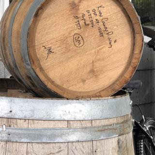 A burnt bourbon barrel will age our super stout.