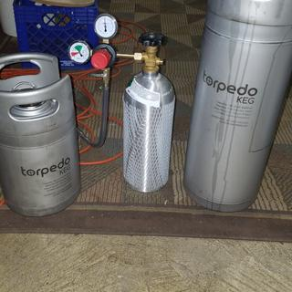 5 gallon and 2.5 gallon Torpedo kegs waiting to be pressurized.