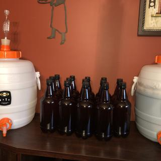 One finished batch of blonde.. One stout in early stages...