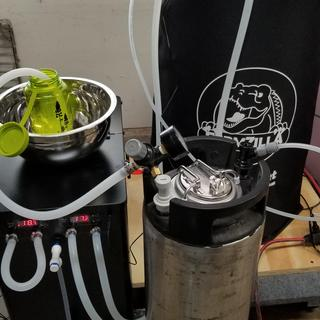 Chiller and Fermzilla. Pressure fermentation with CO2 flushing the serving keg.