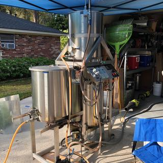 Starting the brew day on the Tippy Dump system that used to belong to White Labs.