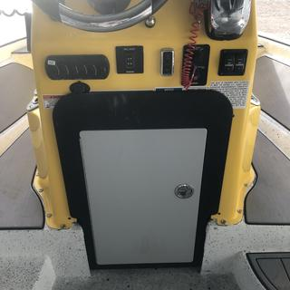 Custom tackle box filled hole on center council on custome charger striper guide series. Organized