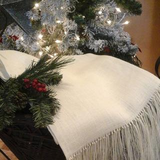 Gorgeous Knotted and Fringed Table Throw\Table Runners in Creamy White Burlap