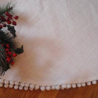 Large Holiday Tree Skirts by The Elegant Clutter in Creamy White