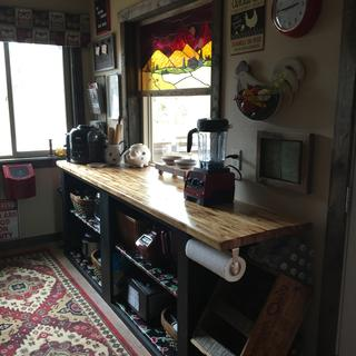 I used oilcloth to line the interior of this cabinet in our cabin's walk-in pantry.