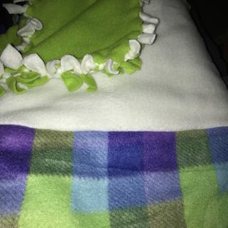 Used the remnants sewn together to create a fun tie blanket