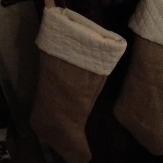Burlap and quilted stocking