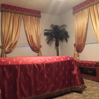 Gold Crepe Back Satin curtains with Swavelle/Mill Creek Imperial Dragonfly Maraschino pelmets.