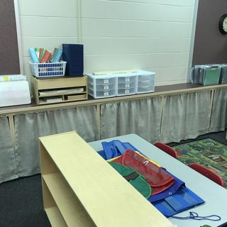 Curtains for classroom shelves