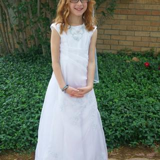 First Communion Special: Even with an embroidered organza overlay this fabric shines!