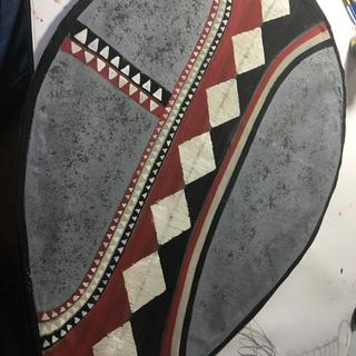 Hand painted Masai shield made with grey cotton canvas