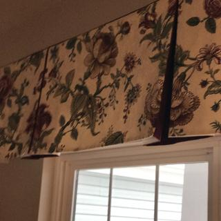 Close up of inverted box pleat valance