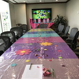 I used the clear vinyl to cover a big conference table for a party we had for one of our staff.