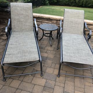 Used the turquoise material to replace the slings in two Winston chaise lounges. They look like new!