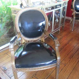 Used the Black Patent Leather Vinyl to re-upholster 2 chairs and they came out stunning