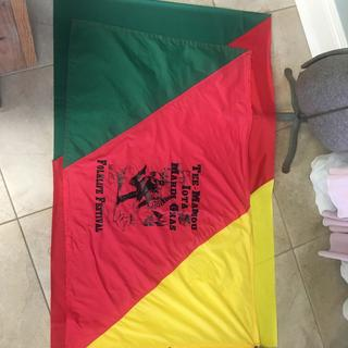 I made these large flags for our Mardi Gras association