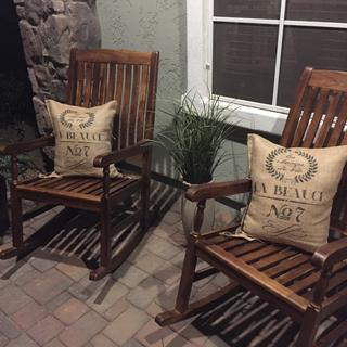 I turned these cute grain sacks into pillows for my front porch rockers.