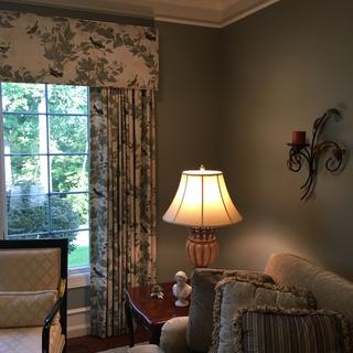 Living Room Cornice Stacked Draperies  Give Illusion of a larger window. Transformed this room!
