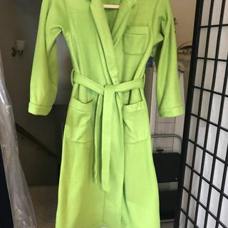 My 10 yr old grandson wanted a lime green fleece robe. Here is the finished product. He loved it!!