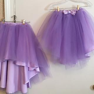 Front and back view of flower girl skirts