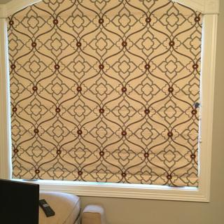 Arched Roman shade with room darkening lining