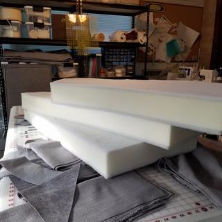 "Foam ""sandwich"". Dacron adhered to top and bottom of foam using spray adhesive."
