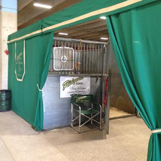 We made stall curtains for the Appaloosa Nationals using the micro suede as accent on the valance.