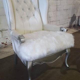 The white dust cover was a must on this luxurious white reupholster job.