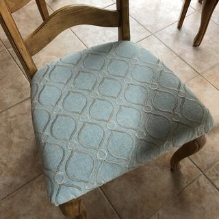 Recovered chairs and made 3 pillows. Fabric is Gorgeous!!