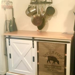 This cattle feed sack was just the right touch for my new hand built kitchen barn door cabinet.