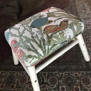 IKEA stool with upholstery seat attached