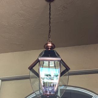 Newly installed Quoizel Newbury 16 inch Hanging Lantern in my entryway