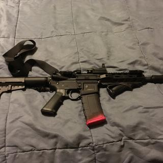 My 300 blackout pistol. I colored the magazine pink so I don't load it into a 5.56.