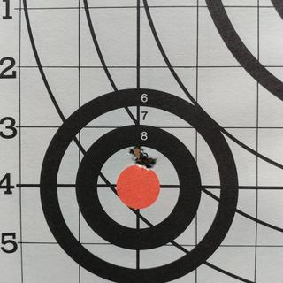 Only 25yds but I'm more than happy with the accuracy of this upper. This was Federal M885 62gr.