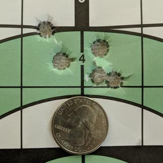 100 yards hand load testing.  This was the best grouping load.