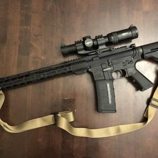 """16""""carbine M4 Magpul stock and window P-mag. Vortex 1-6 for sights."""