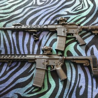 My wife's and my most recent PSA rifle builds. She is super happy with her new home protection tool.