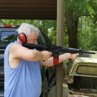 My father shooting this AR, first time shooting an AR since Vietnam.